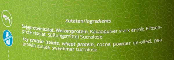 Nutri Plus Veganes Protein Zutaten