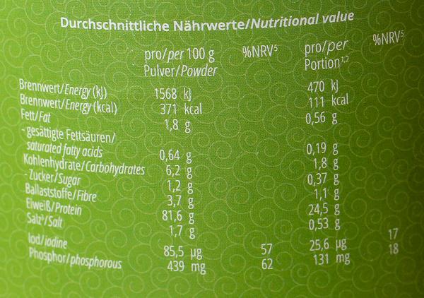 Nutri Plus Veganes Protein Nährwerte